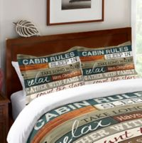 Laural Home® Cabin Rules Standard Pillow Sham in Brown