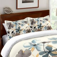 Laural Home® Greige Florals Standard Pillow Sham in Blue/Grey