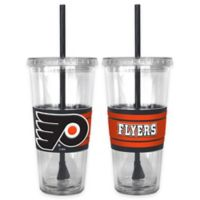 NHL Philadelphia Flyers Double Wall Hype 22 oz. Tumbler with Lid & Straw