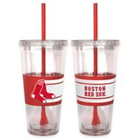 MLB Boston Red Sox Double Wall Hype 22 oz. Tumbler with Lid & Straw