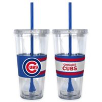 MLB Chicago Cubs Double Wall Hype 22 oz. Tumbler with Lid & Straw