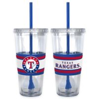 MLB Texas Rangers Double Wall Hype 22 oz. Tumbler with Lid & Straw