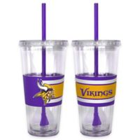 NFL Minnesota Vikings Double Wall Hype 22 oz. Tumbler with Lid & Straw