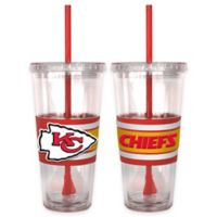 NFL Kansas City Chiefs Double Wall Hype 22 oz. Tumbler with Lid & Straw