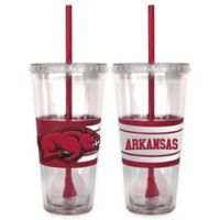 University of Arkansas Double Wall Hype 22 oz. Tumbler with Lid & Straw