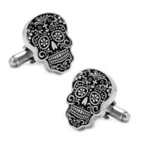 Silver-Plated Black Day of the Dead Cufflinks
