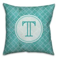Distressed Quatrefoil 16-Inch Square Throw Pillow in Teal/White