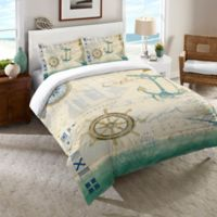 Laural Home® Mariner Sentiment Twin Comforter in Blue