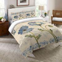 Laural Home® Indigo Watercolor Poppies Queen Comforter in Blue