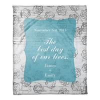 """The Best Day of Our Lives"" Throw Blanket in Blue/White"