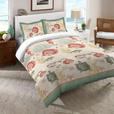 laural home seaside postcard queen comforter in green