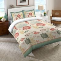 Laural Home® Seaside Postcard Twin Comforter in Green