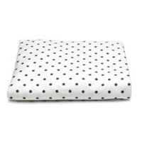 Liz and Roo Nautical Mini Dots Fitted Crib Sheet in White/Navy