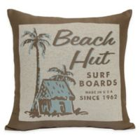 Beach Hut Tapestry Word Throw Pillow