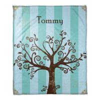 Tree Silhouette Throw Blanket in Blue/Brown