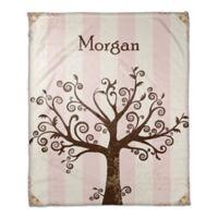 Tree Silhouette Throw Blanket in Pink/Brown