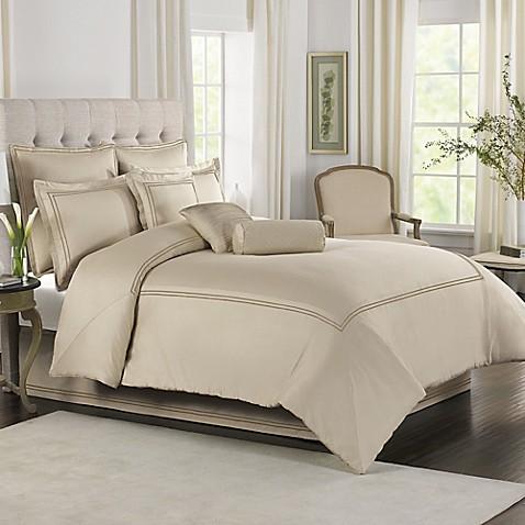 wamsutta® baratta stitch comforter set in taupe - bed bath & beyond