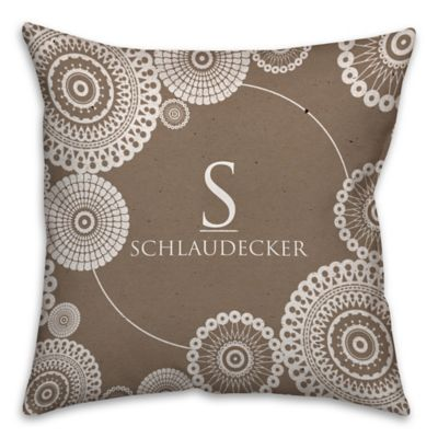 Lace Printed 16 Inch Square Throw Pillow In Brown/White