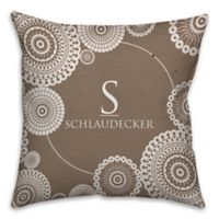 Lace Printed 18-Inch Square Throw Pillow in Brown/White