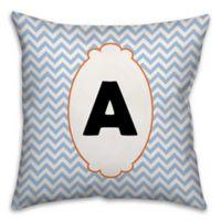 Chevron Border 16-Inch Square Throw Pillow in Blue/White