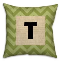 Text Accented Chevron 16-Inch Square Throw Pillow in Green