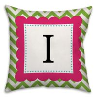 Chevron Frame 18-Inch Square Throw Pillow in in Pink/Green
