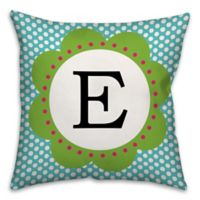 Lively Polka Dot 16-Inch Square Throw Pillow in Blue/Green