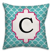 Scale Pattern 16-Square Throw Pillow in Cyan/Pink