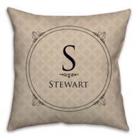 Circle Scroll 16-Inch Square Throw Pillow in Beige