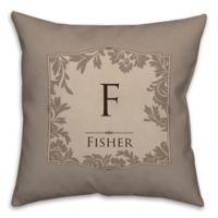 Floral Damask 16-Square Throw Pillow in Beige