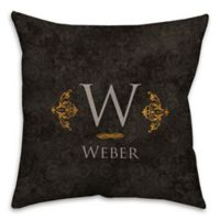 Golden Damask 18-Inch Square Throw Pillow in Black