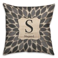 Leaf 16-Inch Square Throw Pillow in Grey