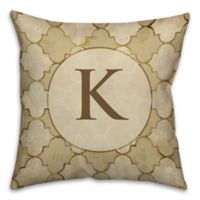 Bits of Gold 16-Inch Square Throw Pillow in Beige/Brown