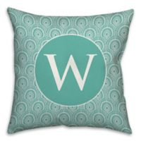 Trendy Medallion 18-Inch Square Throw Pillow in Blue/White