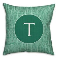 Neutral Zigzag 16-Inch Square Throw Pillow in Green/White