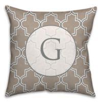 16-Inch x 16-Inch Neutral Quatrefoil Square Throw Pillow in Brown/White