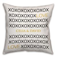 16-Inch x 16-Inch Love Hugs & Kisses Square Throw Pillow in White/Black