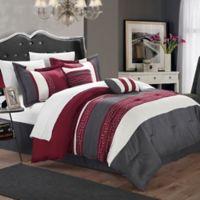 Chic Home Coralie 6-Piece Queen Comforter Set in Burgundy