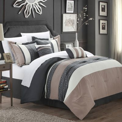Chic Home Coralie 6 Piece Queen Comforter Set In Taupe