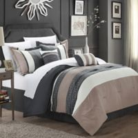 Chic Home Coralie 6-Piece Queen Comforter Set in Taupe