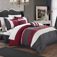 Chic Home Coralie 10-Piece King Comforter Set in Burgundy