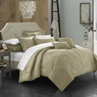 Chic Home Dinarelle 11-Piece Queen Comforter Set in Taupe
