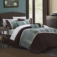 Chic Home Evasco 12-Piece Queen Comforter Set in Brown