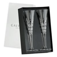 Belleek Galway Crystal Longford Romance Champagne Flutes (Set of 2)