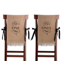 "Lillian Rose™ ""Her One"" and ""His Only"" Burlap Chair Cover Set"