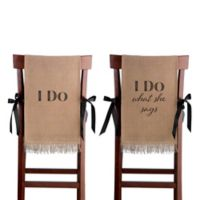 "Lillian Rose™ ""I Do"" Burlap Chair Cover Set"