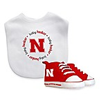 NCAA University of Nebraska Infant Bib and Pre-Walker Shoe Set
