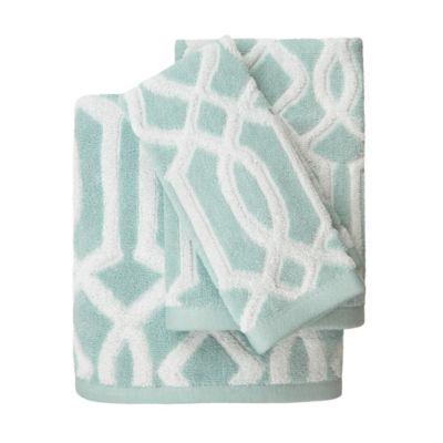 megan bath towel in aqua - Decorative Bath Towels