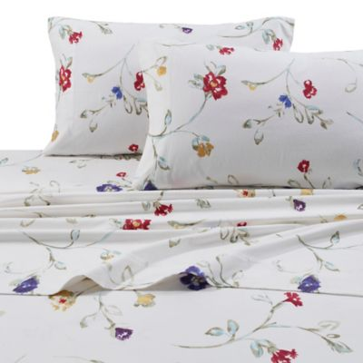 Tribeca Living 170 GSM Print Flannel Deep Pocket Full Sheet Set In White/Red