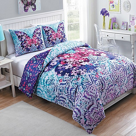 purple and turquoise bedroom vcny fly free reversible comforter set in purple bed 16831